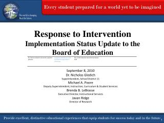 Response to Intervention Implementation Status Update  to the  Board  of Education