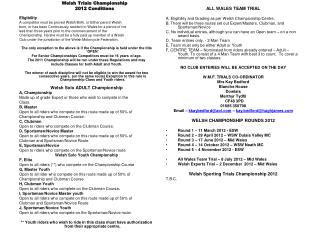 Welsh Trials Championship 2012 Conditions Eligibility