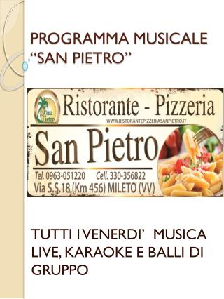 "PROGRAMMA MUSICALE ""SAN PIETRO"""