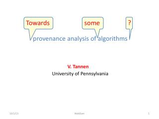 provenance analysis of algorithms