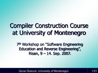 Compiler Construction Course at University of Montenegro