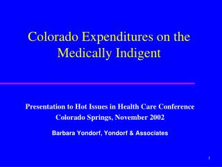 Presentation to Hot Issues in Health Care Conference Colorado Springs, November 2002
