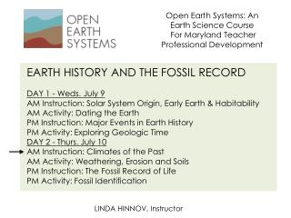 Open Earth Systems: An Earth Science  Course For Maryland Teacher Professional Development