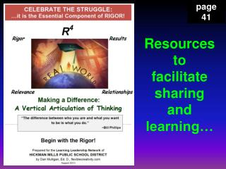 Resources to facilitate  sharing  and  learning…