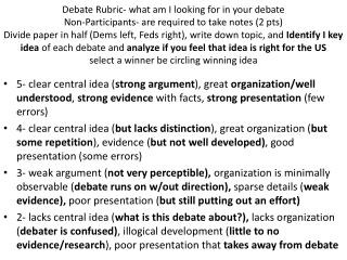 Debate Rubric what am I looking for in