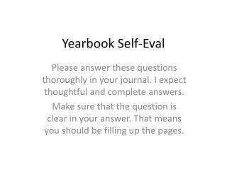 Yearbook Self- Eval
