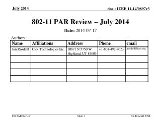 802-11 PAR Review – July 2014