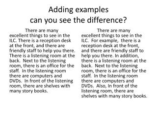 Adding examples can you see the difference?