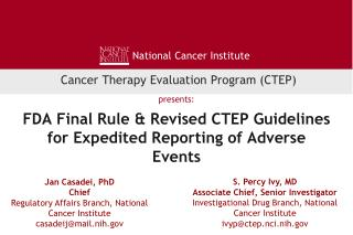 FDA Final Rule & Revised CTEP Guidelines for Expedited Reporting of Adverse Events