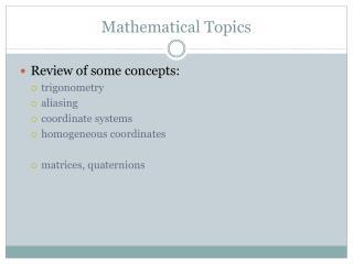 Mathematical Topics