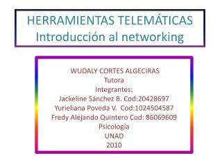 HERRAMIENTAS TELEMÁTICAS Introducción al networking