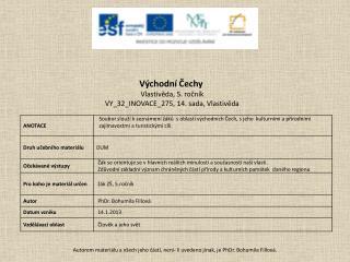 Východní Čechy Vlastivěda, 5. ročník VY_32_INOVACE_275 ,  14 .  sada, Vlastivěda