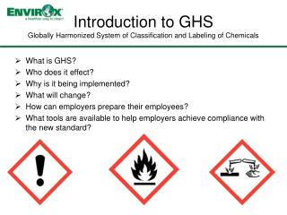Introduction to GHS Globally  Harmonized System of Classification and Labeling of Chemicals
