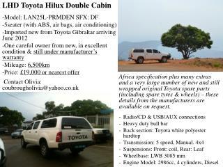 LHD Toyota Hilux Double Cabin  Model: LAN25L-PRMDEN SFX: DF