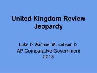 United Kingdom  Review Jeopardy