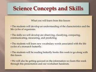 Science Concepts and Skills