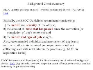 Background Check Summary