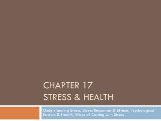 Chapter 17  Stress & Health