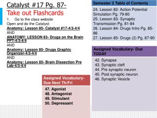 Catalyst #17 Pg.  87 - Take out Flashcards