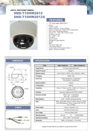 "1/3"" Sony Super HAD CCD II 650 TVL 3-DNR / 2-DNR Motion Detection / Privacy Masking"