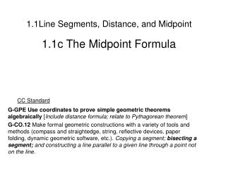 1.1Line Segments, Distance, and Midpoint