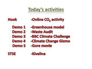 Today's activities