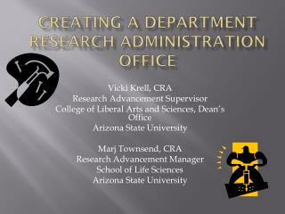 Creating a Department Research Administration Office