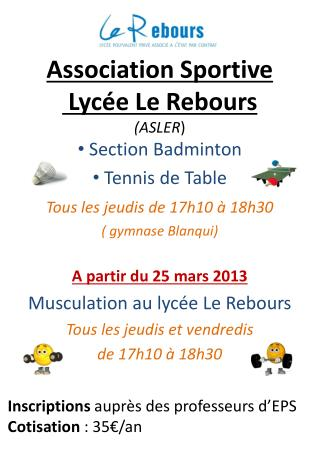 Association Sportive  Lycée Le Rebours  (ASLER )