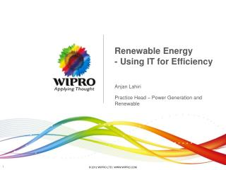 Renewable Energy - Using IT for Efficiency