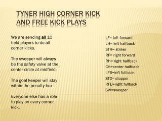 Tyner High corner kick  and free kick plays
