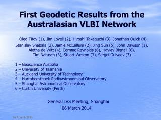First Geodetic Results from the Australasian VLBI Network