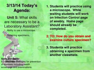 3/13/14 Today's  Agenda: