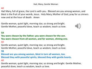 Hail, Mary, Gentle Woman All