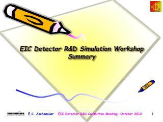 EIC Detector R&D Simulation Workshop Summary