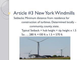 Article #3 New York Windmills