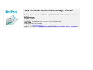 Global Supplier of Cleanroom Medical Packaging Solutions