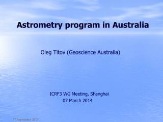 Astrometry program in Australia