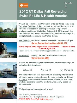 2012  UT Dallas Fall  Recruiting Swiss Re Life & Health America