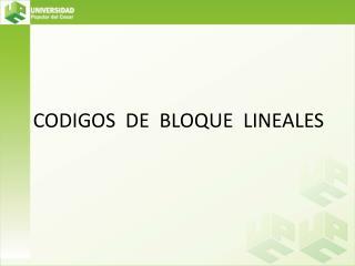 CODIGOS  DE  BLOQUE  LINEALES