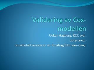 Validering av Cox-modellen