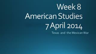 Week 8  American Studies 7 April 2014