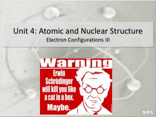 Unit 4: Atomic and Nuclear Structure Electron Configurations III