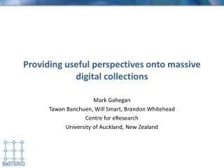Providing useful perspectives onto massive digital collections