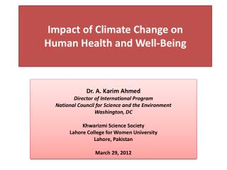 Impact  of Climate  Change on  Human  Health and  Well-Being