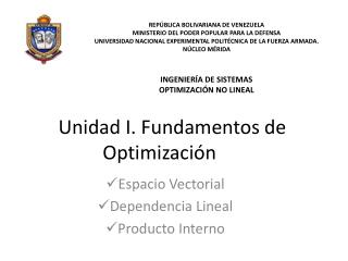 Unidad I. Fundamentos de Optimizaci�n