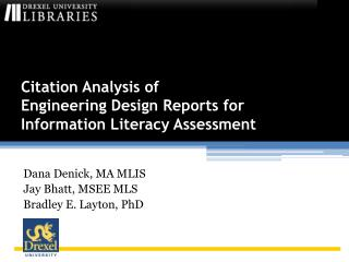 Citation Analysis of  Engineering Design Reports for Information Literacy Assessment