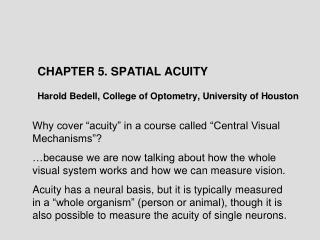 "Why cover ""acuity"" in a course called ""Central Visual Mechanisms""?"