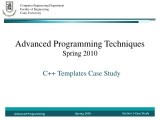 Advanced  Programming Techniques Spring 2010
