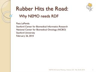 Rubber Hits the Road: Why NEMO needs RDF