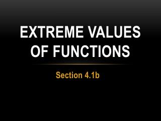 Extreme Values of Functions